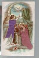 Image Pieuse Religieuse Holy Card - Annonciation - Vêtements En Relief Tissu Tissée Gaufrée Emboutie Ange ... - Images Religieuses