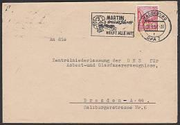 """DDR MAGDEBURG """"Martin Braucht Schrott Helft Alle Mit!"""" MWSt. Bedarfsbrief 1957 Hochofen Propaganda - DDR"""