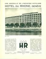 Reclame Advertentie Uit Oud Tijdschrift 1951 - Hotel Du Rhone Genève - Reclame