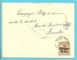 BZ15 Op Brief Met Cirkelstempel RIXENSART - WW I