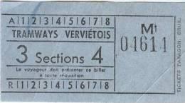 TICKET DES TRAMWAYS VERVIETOIS - Tram