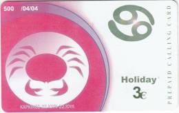 GREECE - Zodiac/Cancer, Amimex Prepaid Card 3 Euro, Tirage 500, 04/04, Used - Zodiaco
