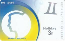 GREECE - Zodiac/Gemini, Amimex Prepaid Card 3 Euro, Tirage 500, 04/04, Used - Zodiaco