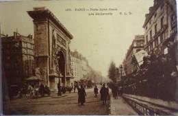 CPA PARIS 169 - PORTE SAINT DENIS LES BOULEVARDS Animés - E L D - CPA Voyagée 1906 - Squares