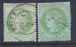France, Scott # 53and 53a Used Ceres, 1872, Some Blunt Perfs - 1876-1878 Sage (Type I)