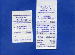 NC - Lot 2 Ticket De Caisse Economat De LANDEAU - FFA - FFSA - Allemagne - Forces Françaises Stationnées En - Imprimerie & Papeterie