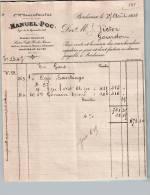 Entête Du 27/081892 MANUEL POC Denrées Coloniales Bordeaux - France