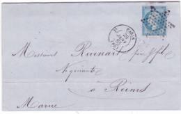 1863- Lettre De Paris Bureau Central Cad De Route 3e échoppé Affr. N°22 Oblit. étoile Pleine - Marcophilie (Lettres)