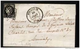 20C NOIR ET CACHET TYPE 14 DE FORMERIE - 26 JUIN 1849 - 1849-1876: Periodo Classico