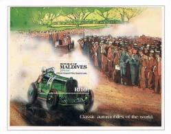 MALDIVES SHEET AUTOS CLASSIC CARS CAR RACING KLASSIEKE AUTO´S CARROS CLÁSSICOS VOITURES CLASSIQUES AUTO CLASSICHE - Auto's