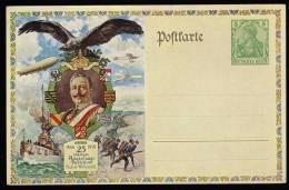 Deutsches Reich Postkarte/Ganzsache With 25 Jahriges Regierungs Jubilaum Kaiser Wilhelm II Mint 1913 - Germany
