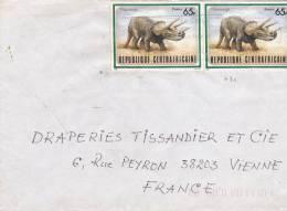MARCOPHILIE, République Centrafricaine, 780 Seul Sur Lettre Multi , Cachet 1988 BANGUI, Dinosaure Triceratops/2270. - Zentralafrik. Republik