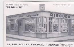 21374- RENNES (35 France) FACADE Commerce RIGOURD SPORT , Montre , 21 Rue Poullain Duparc, Montre Horloge