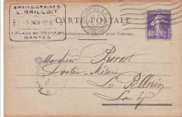 21385 Nantes, Carte Commerciale, Brilloit Place Bouffay, Grains Tourteaux - Nantes