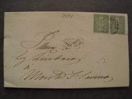 """ITALIA Regno-1866- """"T 14 Torino"""" C. 1 Coppia AREZZO>MONTE S. SAVINO (descrizione) - 1861-78 Vittorio Emanuele II"""
