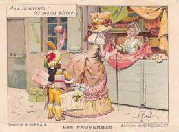 21391 Les Proverbes, Dessin Gerbault, Innocents Mains Pleines'  édité Ricqles -etoffe Esclave Marchande - Publicités