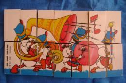 PFA/39 GIOCO PUZZLE GADGET WALT DISNEY TOPOLINO/PAPERINO BANDA MUSICALE SUCI MUGGIO Anni ´60 - Disney