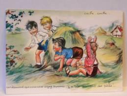 CP Illustrateur Germaine Bouret - Cache Cache - Enfants- Pas étonnant Que Vous Ayez Trouvés, Y A Toto Qui Sent Des Pieds - Bouret, Germaine