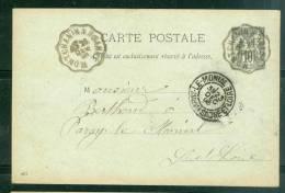 """Oblitération Convoyeur Ligne """" Montchanin à Roanne  """" Sur Entier 10 Cent Type Sage En  1898 - Am4705 - Postmark Collection (Covers)"""
