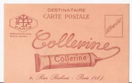 "CARTE POSTALE PUB.  ""COLLERINE"" 9,Rue Rubens. PARIS. - Publicités"