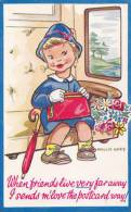 CHILDREN -MOLLIE GREY -I SENDS M'LOVE THE POSTCARD WAY - Humorous Cards