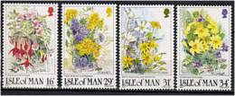 ILE DE MAN 1987 - Fleurs - Serie Neuve Sans Charniere (Yvert 344/47) - Man (Insel)