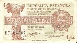 BILLETE DE ESPAÑA DE 1 PTA DEL AÑO 1937  EN CALIDAD EBC+  SERIE B  (BANKNOTE) - [ 2] 1931-1936 : República