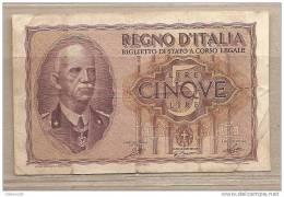 """Italia - Banconota Circolata Da 5 Lire """"Impero"""" - 1940 - [ 1] …-1946 : Kingdom"""