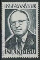 Iceland Island 1978 Mi 538 YT 491 * MH - Halldór Hermannsson (1878-1958) Scholar + Director Fiske Library - Andere