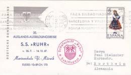 "Dt. Marine Schiffspost, SS ""Ruhr"" Marineschule Fl.-Mürwik, 35. Auslands-Ausbildungsreise , St: Puerto De La Luz 7.11.196"