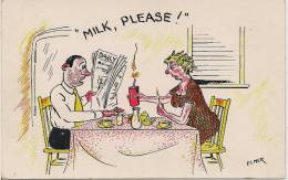 Milk, Please!, Elmer Anderson, 1950's Modern Chrome Comic Postcard # 8250 - Bandes Dessinées