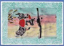 Original BATIK Card (handmade, Silk Painting) From Indonesia Indonesien In 1998, 2 Stamps, 18 X 12.7 Cm - Indonesien