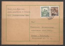 1941 10h Leaves & 50h Karlstein Castle On Postcard, Praha (27.I.41) - Bohemia & Moravia