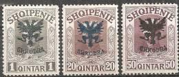 Albania 1920 Nuovo L* - Yv.97;101;104 - Albania
