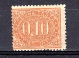 ITALIA REGNO 1869 SEGNATASSE 10 CENT. N° 2  ** GOMMA NON ORIG. (r. 8123) - 1861-78 Vittorio Emanuele II