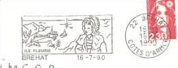 CACHET OBLITERATION FLAMME BREHAT ILE FLEURIE BATEAU COIFFE  ENVELOPPE 16X11 - Marcophilie (Lettres)