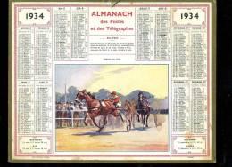 Calendrier 1934 Courses Chevaux , Au Dos Renseignements Foires Et Communes Du Tarn + Carte Chemins De Fer - Calendars