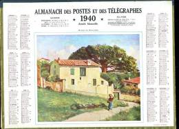 Calendrier 1940 Double Cartonnage,maison Du Roussillon Intérieur 32 Pages + Cartes Dont Postes Aude+ Renseignements Aude - Big : 1921-40
