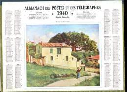Calendrier 1940 Double Cartonnage,maison Du Roussillon Intérieur 32 Pages + Cartes Dont Postes Aude+ Renseignements Aude - Calendars