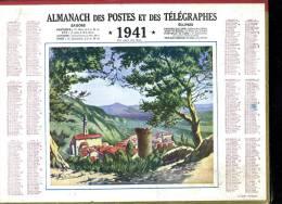 Calendrier 1941 Double Cartonnage,un Coin Du Var, Intérieur 32 Pages + Cartes Dont Postes Aude+ Communes Et Marchés - Big : 1941-60