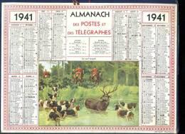 Calendrier 1941 Le Cerf Traqué, Chasse à Courre. - Big : 1941-60