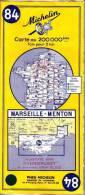 Carte Michelin 84 - Marseille - Menton - Plastifié Par Hydroplast - Edition 1962 - Etat Neuf - Cartes Routières