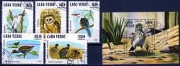 Kap Verde 1981 Vögel Mi.-Nr. 445 - 449, Block 4 Gest. O - Kap Verde