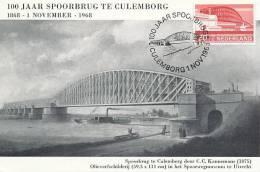 D09757 CARTE MAXIMUM CARD TRIPLE 1968 NETHERLANDS - RAILROAD BRIDGE CULEMBORG CP PHOTOCARD - Bruggen