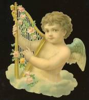 Diecut Embossed Christmas Angel With HARP C. 1895 Ange Harpe Engel (perfect Quality 10x11 Cm) - Angeles