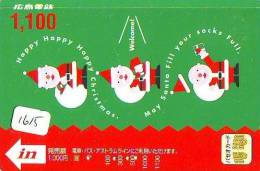 Carte Prepayee JAPON * NOËL (1615) MERRY CHRISTMAS  Prepaid Card Japan * Karte WEIHNACHTEN * KERST NAVIDAD * NATALE - Kerstmis