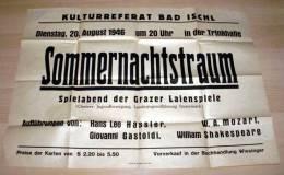 Original poster 1946,KULTURREFERAT BAD ISCHL, Midsummer night's dream, game night of the GRAZER LAIENSPIELE