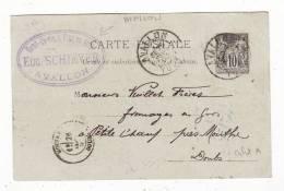 89  AVALLON   Cpa De 1892 Avec Cachet Eaux De Vies Schiever       éditions - Avallon