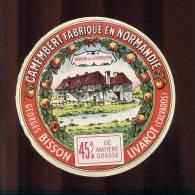Etiquette De Fromage Camembert  -  Georges Bisson  à Livarot  (Calvados) - Fromage