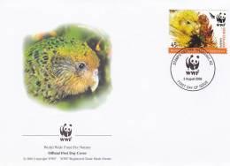 WWF - 368,23 - FDC - € 1,08 - 3-8-2005 - 45c - Kakapo - New Zealand - W.W.F.